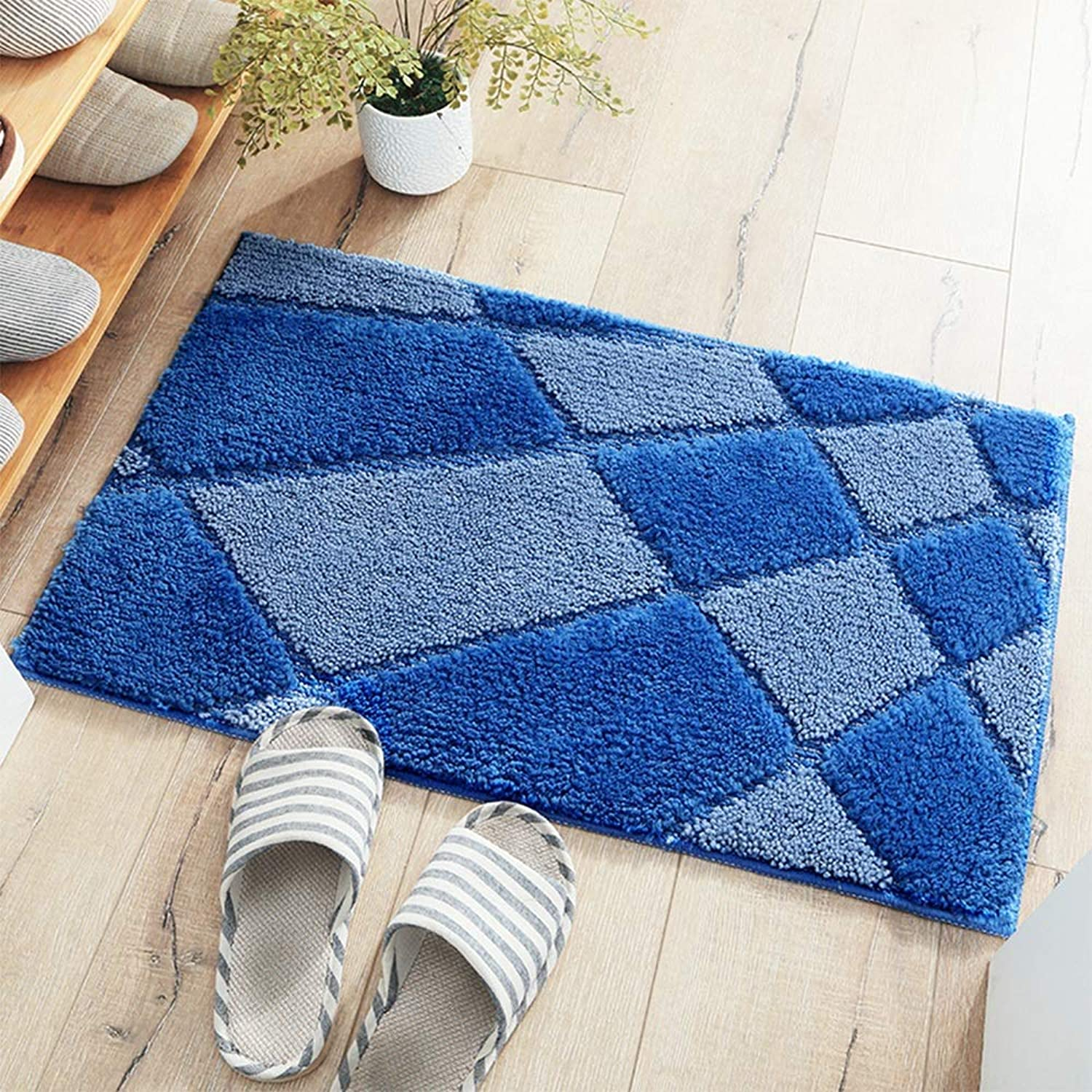Door mat Floor Mat - Polyester Fabric Environmentally Friendly Hot Melt Rubber Sole, Soft and Comfortable, Absorbent and Non-Slip, Home Absorbent Bedroom Bathroom Door Anti-Slip Mat - 3 Styles 2 Siz