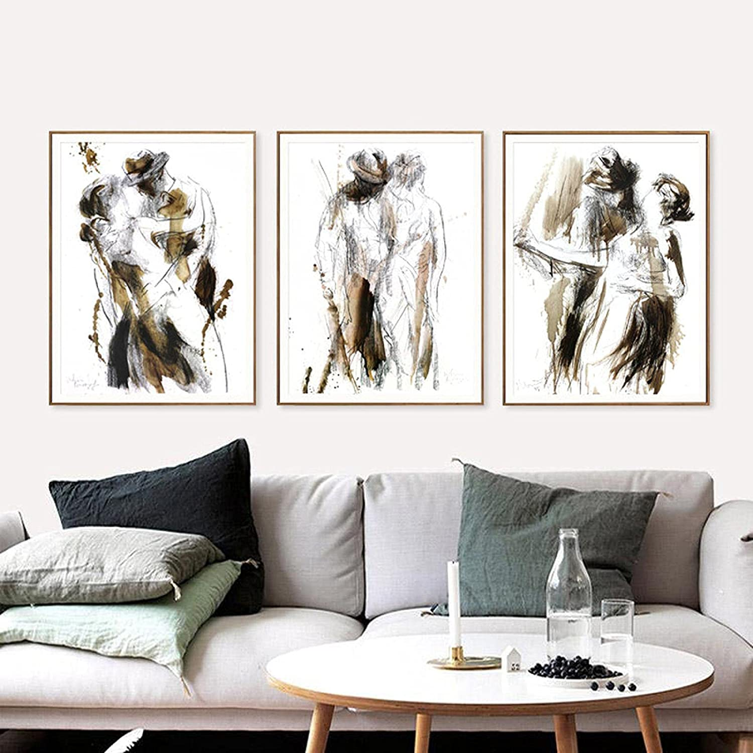 Abstract Couple Art Print Canvas Painting Black White Special Campaign S New Orleans Mall Nude and