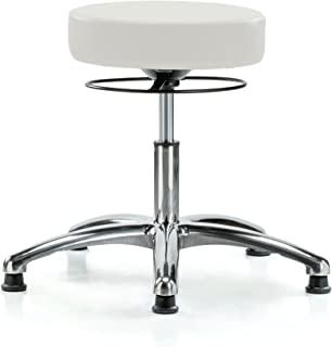 Perch Chrome Stella Stationary Height Adjustable Salon & Spa Stool | Desk Height 18.5-24 Inches | 300-Pound Weight Capacity | 12 Year Warranty (Adobe White Vinyl)