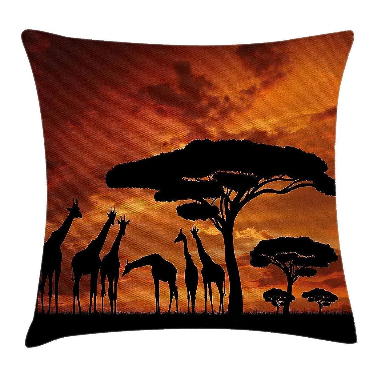 非難ハンサム風味野生動物の装飾投げ枕クッションカバー、ケニアの日の出で雄大な木とキリンの乗組員とサファリ、装飾的な広場投げ枕クッションカバー45 x 45 cm、焦げたオレンジブラック