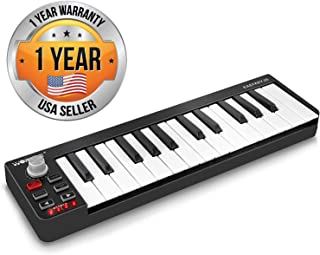 Pyle USB MIDI Keyboard Controller - Upgraded 25 Key Portable Audio Recording Workstation Equipment - Hardware Buttons Control any DAW Software for Computer Music Production - PMIDIKB10_0