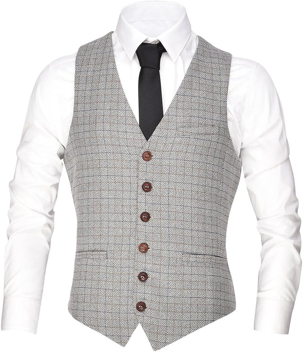 70s Jackets, Furs, Vests, Ponchos VOBOOM Mens V-Neck Suit Vest Casual Slim Fit Dress 6 Button Vest Waistcoat  AT vintagedancer.com