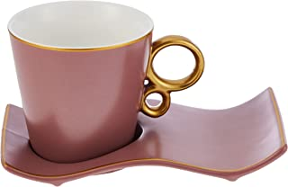 SHALLOW 6 CUPS & 6 SAUCERS TEA SET IN GIFT BOX 190CC -NEW BONE CHINA -Purple(QY-1253-D3)