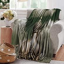 PearlRolan Flannel Fleece Blanket,Indian Decor Collection,Sepia Tones Praying and Cloudy Bangkok Sky Photo Print,Khaki Gold,Throw Lightweight Cozy Plush Microfiber Solid Blanket 50