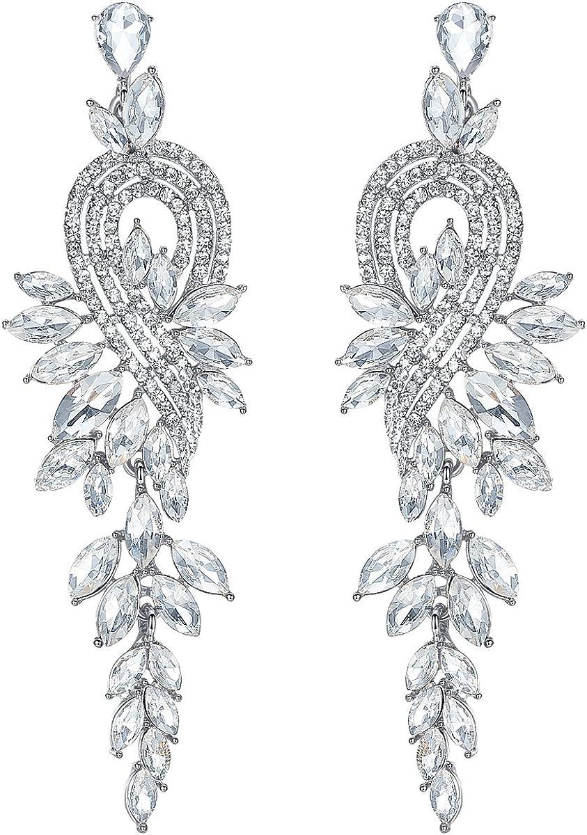 mecresh Marquise Crystal Bridal Dangle Drop Award-winning store Austin Mall Chandelier Earrings