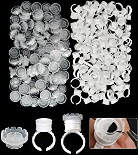 GOTONE 200pcs Disposable Nail Art Tattoo Lashes Supplies Tools, 100pcs Eyelashes Extension Volume Lashes Fan Blossom Cups ...