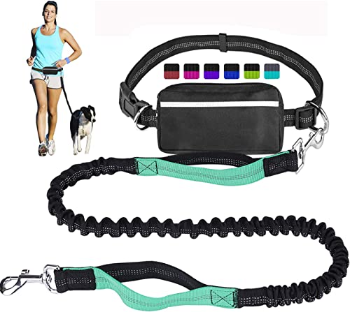 Hands Free Dog Leash for Running Walking Training Hiking, Dual-Handle Reflective Bungee, Poop Bag Dispenser Pouch, Ad...