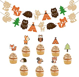 Woodland Party Supplies Set Forest Animal Friends Themed Banner Cupcake Toppers Baby Shower Birthday Party Decorations (48 pcs Toppers + 2 set Banners)
