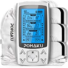 POHAKU Dual Channel TENS EMS Unit, 24 Modes TENS Unit Muscle Stimulator for Pain Relief Therapy & Muscle Conditioning, Sui...