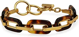 Bling Jewelry Fashion Brown Golden Acrylic Tortoise Shell Oval Chain Link Bracelet for Women Gold Plated Stainless Steel