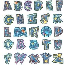 Gnognauq 52 Parches de Letra Parches de Apliques de Alfabeto de Hierro Bordados de Bricolaje para Sombreros Chaquetas Camisas Chalecos 2 Juegos de 26 Letras 1.375 x 1 Pulgadas