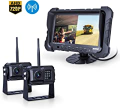 Yuwei Digital Wireless Backup Camera System, Dual HD 720P Camera Wireless RV Backup System with Infrared Night Vision and Wide Viewing Angles, 7inch Wireless Monitor Split Screen for Trailer, RVs, Ca