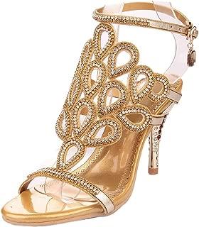 Women Gorgeous Sandals Phoenix Cutout Rhinestone Evening Sandal Party Dress Sandal Heel