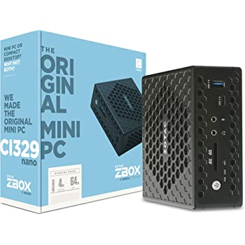 ZOTAC ZBOX Ci329 Nano Silent Mini PC Intel N4100 Quad-Core, Intel UHD 600 Graphics, HDMI, VGA, DisplayPort, 4GB DDR4/64GB SSD/Windows 10 Pro System, ZBOX-CI329NANO-U-W2C, Intel Celeron N4100