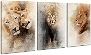 """HUADAOART Large Lion Wall Art Brown Picture Fierce Animal Face Canvas Artwork Wildlife Canvas Print Modern Wall Decor for Home Living Room Teen Bedroom Office Gift Stretched Ready to Hang 12""""x16"""""""