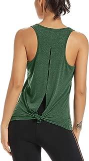 Womens Yoga Workout Tank Tops-Open Back Running Activewear Workout Shirts for Women