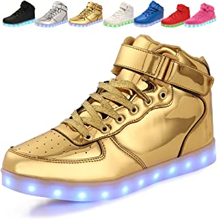 adituo Kids Girls and Boys High Top USB Charging LED Shoes Flashing Sneakers(Toddler/