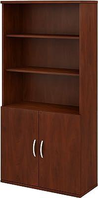Bush Business Furniture STC015HC 5 Shelf Bookcase with Doors, Hansen Cherry