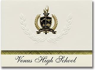 Signature Ankündigungen Venus High School (, Venus, TX) Graduation Ankündigungen, Presidential Stil, Elite Paket 25 Stück mit Gold & Schwarz Metallic Folie Dichtung B078VF3BLZ  Preiszugeständnisse