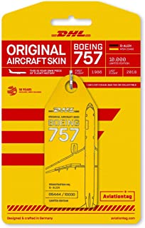 AVT042 AviationTag Boeing 757-200 (DHL) Reg #D-ALEH Yellow Original Aircraft Skin Keychain/Luggage Tag/Etc with Lost & Found Feature