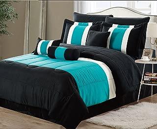 EMPIRE 8-Piece Oversized Teal Blue & Black Comforter Set Bedding with Sheet Set (Queen)