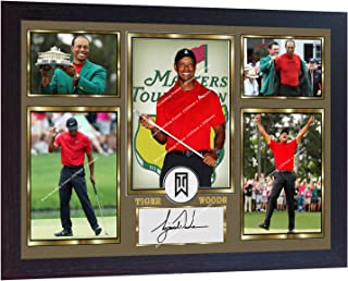 S&E DESING Tiger Woods 2019 Masters Tournament Signed Autographed Golf Photo Printed Framed