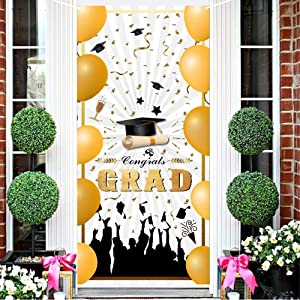 2021 Graduation Door Cover - Congrats Grad Door Sign Graduation Party Banner Photo Booth Backdrop Background Large Welcome Hanging Banner for Indoor Outdoor Grad Party Decorations (White)