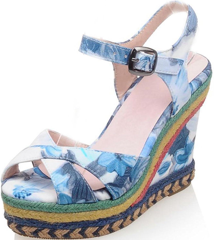 DoraTasia Peep Toe Buckle Strap Platform Women's Wedge Sandals