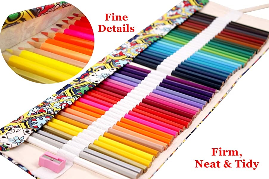 Gaya Fesyen Colored Pencils Art Supplies for Kids Adults Coloring Book with Canvas Case Roll Up Wrap Bag and Sharpener Set