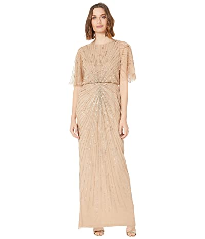 Adrianna Papell Flutter Sleeve Beaded Column Gown (Champagne Gold) Women