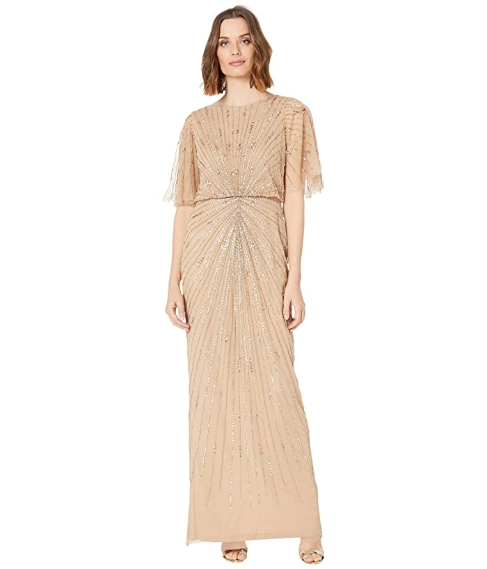 70s Prom, Formal, Evening, Party Dresses Adrianna Papell Flutter Sleeve Beaded Column Gown Champagne Gold Womens Dress $209.30 AT vintagedancer.com