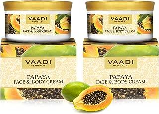 Papaya Face and Body Moisturizer Cream 10.6 Ounce (Pack of 2 X 150 Gm) - Herbal Cream - all Natural - no Paraban - no Sulfate - Vaadi Herbals