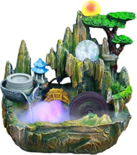 WAWLIVING Tabletop Fountain Indoor Small Rockery Desktop Mountain Cascading Waterfalls with Mist Sprayer Rolling Ball Water-Driven Mill Wheel for Decoration