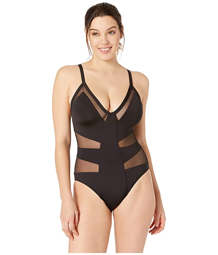 Kenneth Cole Yes to Mesh Halter Plunge One-Piece (Black) Women