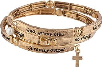 Lux Accessories Burnished Gold Tone God Grant Me Serenity Prayer Wrap Bracelet