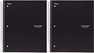 """Five Star Spiral Notebook, 1 Subject, College Ruled Paper, 100 Sheets, 11"""" x 8-1/2"""", School, Wired, Black (72057) 2 Pack"""