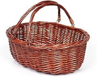Wicker Basket Picnic Basket Gift Baskets Empty Oval Willow Woven Basket Easter Basket Large Storage Basket Wine Basket with Handle Egg Gathering Wedding Basket (Brown)