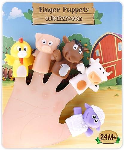 aeioubaby.com Marionnettes à Doigts pour Enfants et Bébé | 5 Animaux de la Ferme | Marionnettes de PVC sans BPA | Jeu...