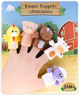 Fingerdockor för barn och bebisar | 5 Bondgårdsdjur | BPA-fria dockor av PVC | Leksaker för badrummet | Fingerdockor, Sagor