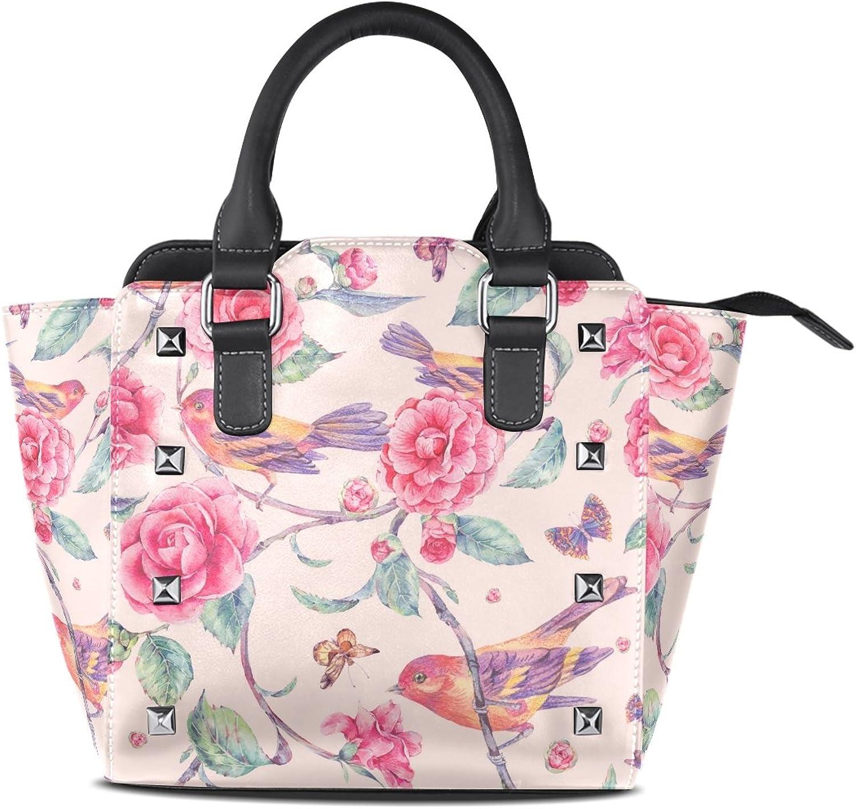 My Little Nest Women's Top Handle Satchel Handbag Floral Watercolor Birds Pink Ladies PU Leather Shoulder Bag Crossbody Bag