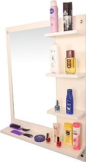 Anikaa Mavis Dressing Wall Mirror  with Shelves (White)