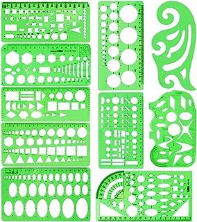 Modèles de Mesure en Plastique de 10 Pièces Modèle de Cercle Modèle Dessin Géométrique Modèles De Construction Création de...