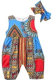 CuteRose Baby Toddler Kid Short Sleeve Dashiki Bodysuit Jumpsuit Outfits Set