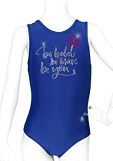 DESTIRA Girl's Be Bold, Be You Crystals Sport Racer Back Gymnastics Leotard
