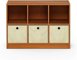 Furinno Basic 3×2 Bookcase Storage w/Bins, Light Cherry/Ivory