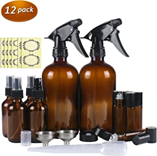 12 Pack Amber Glass Essential Oil Bottle Kits - 2 Pack 16oz & 4 Pack 2oz Spray Bottles & 6 Pack 10ml Roller Bottles for Essential Oils or Cleaning Agent. Labels, Droppers, Funnels and Lids Included