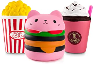 WATINC Kawaii Jumbo 3pcs Hamburger&Popcorn Set Squishy Sweet Scented Vent Charms Kid Toy Hand Toy, Stress Relief Toy , Decorative Props Doll Gift Fun Large (Pink ham&pop Corn)