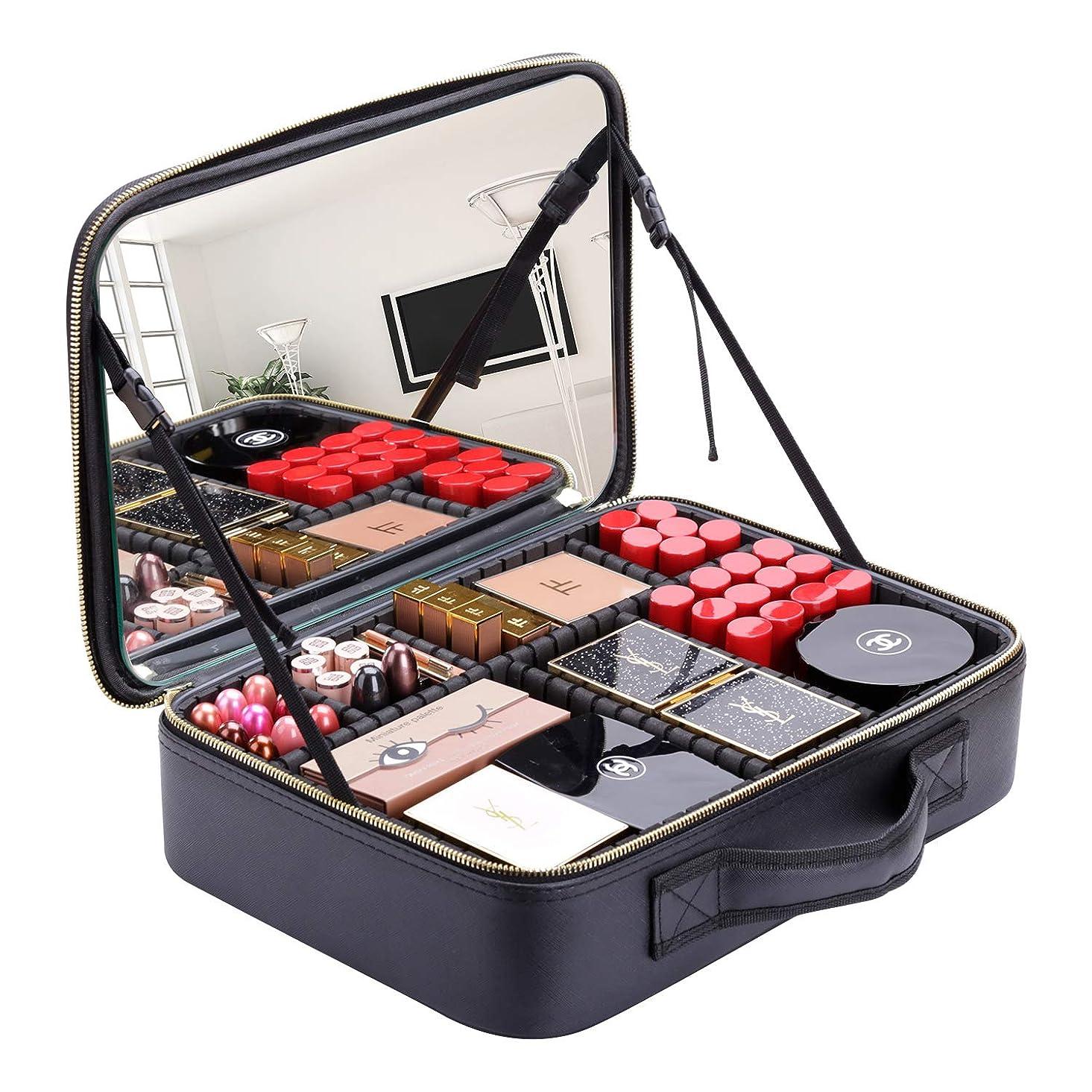 特殊階すばらしいですRownyeon プロ用 メイクボックス 大容量 鏡付き コスメケース コスメボックス 化粧箱 整理簡単 収納 化粧品入れ 収納ボックス 旅行用 女の子 プレゼント 最適 大きい(黒+白)