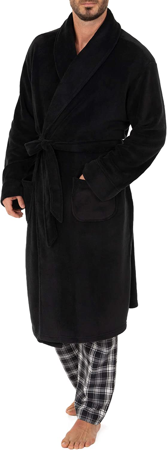 Chaps Men's Comfort Poly Suede Robe, Caviar, One Size at  Men's Clothing store
