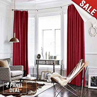 jinchan Burgundy Red Curtains Velvet Drapes Bedroom Window Curtains 95 Inch Long Living Room Rod Pocket Window Treatment Set 2 Panels
